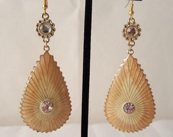 Gold Oval Dangle Earrings - Gold & Crystal Earrings - Gold Earrings - Crystal Earrings - Gold Leaf Earrings - Leaf Earrings -Women's Jewelry