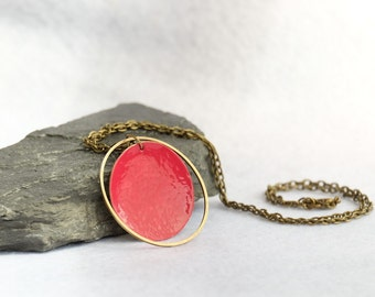 Brass Circles Enamel Necklace in Raspberry, Enamel Pendant, Circle necklace, Gift for Her, Summer Necklace