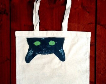 Cat Tote Bag, Cat Grocery Bag, Cat shopping Bag, Cat Accessory, Reusable Bag, Birthday Gift for Her, Grocery Bag, Funny, Cotton Bag, Kitten