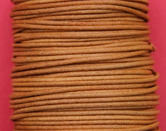 MADE IN SPAIN 6 feet 2mm leather cord, 2mm whisky leather cord, 2mm jewelry leather cord (2ANIWHI)