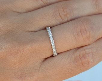 High quality high shine cz eternity band ring. Sterling silver top quality cz 2mm eternity band ring. Stacking ring. Silver band ring.
