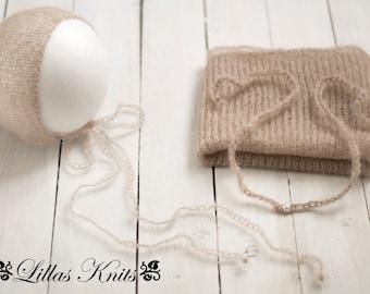 Newborn photography prop set-Newborn mohair wrap-Newborn mohair bonnet-Newborn tieback-Photo outfit-Italian mohair-Stretch wrap-Baby props