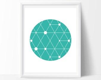 Geometric Print, Scandinavian Print, Mint Print, Geometric Art, Circle Art, Triangle Print, Green Print, Mint Decor, Geometric Wall Print