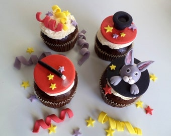 Magician Fondant Cupcake Toppers, with Bunny, Hat and Magic Wand and Ribbons - Magic Birthday Cake Decor - set of 12
