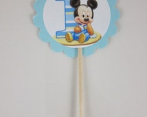 First Birthday Cupcake Picks, Mickey Mouse  cupcake picks- Choose between  Round Double sided or Round scalloped single sided cupcake picks