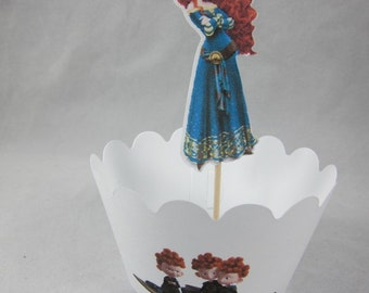 Set of  Princess Merida cupcake topper and wrappers , Princess cupcake picks Double sided, Brave Merida party