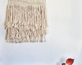 Wall Decor Macrame Wall Hanging on Copper | Large White Woven Wall Hanging | White Wall Weaving | Bohemian Decor