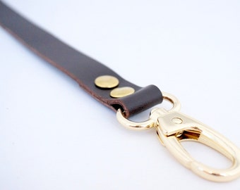 2cm/ 0.78 inches strap from Genuine Dark Brown Leather with gold, bronze or nickel hooks, leather, purse straps, anses cuir