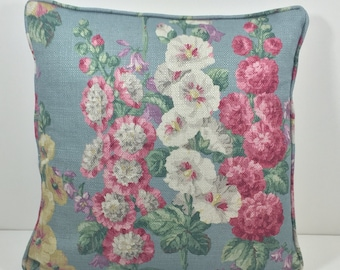 Sanderson Fabric Cushion Pillow Throw - 'Hollyhocks Petrol Blue/Multi - Linen Blend