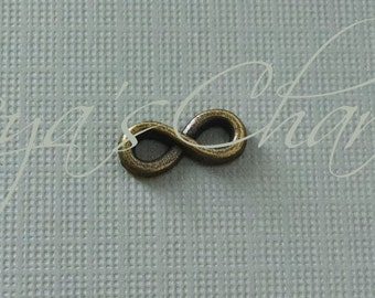 Tiny Infinity Charms, Swirly Pendant, Figure 8 Charm, Link, Brass Infinity Link, Antiqued Brass Charm, Infinity Connector, Bulk, 13mm, 6mm
