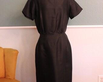 1960's Black Gallant of California Wiggle Dress M-L