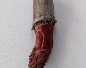 Vintage Wood Carving / Knotheads by Lotega / Carved Wooden Spirit Face / Wise Old Man