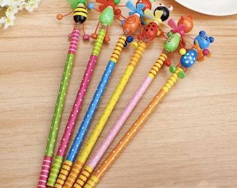 Wooden Pencil Animal Kawaii School Office Supplies