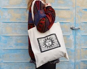 Hippie Sun print tote bag with celestial boho sun face design. Cotton Lino printed hippie tote bag