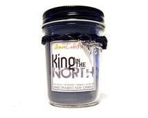 King in the North - Game of Thrones / Jon Snow Inspired 8oz Soy Candle - Cypress, Leather, Amber, Orange