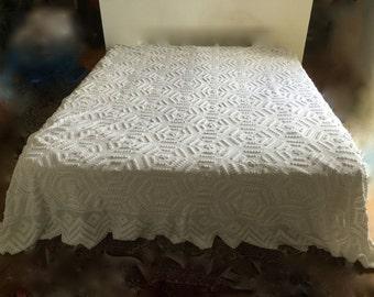Vintage - white cotton crocheted bedspread handmade