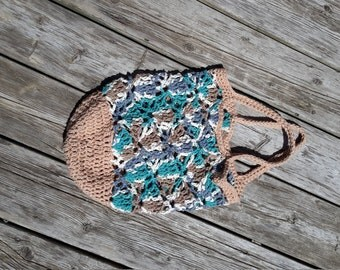 Bag of races, crocheted reusable bag, cotton, market Tote, bag beige and blue, shoulder bag Tote