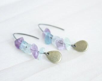 Multi Fluorite Dangle Earrings - Green Purple Jewelry, Bronze Earrings, Teardrop Earrings, Drop Earrings, Lavender Earrings, Boho Earrings