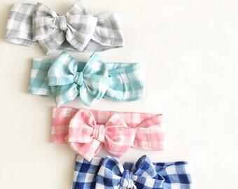 Plaid free-tie head wrap