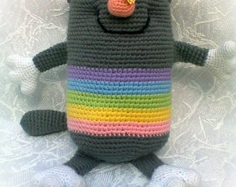 Grey Striped Rainbow Cat Rainbow Crochet toy Cat Plush Stuffed Cat Grey Striped Cat Crochet Toy Cushions Cat Gift for Kids MADE TO ORDER