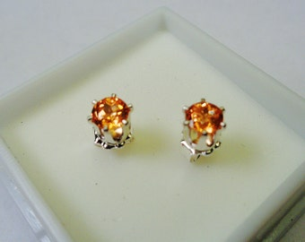 4.5mm Mandarin Garnet Round Silver Stud Earrings.