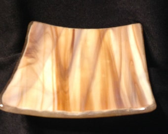Spoon Rest in Rootbeer Brown Stripes - Serving Dish,Trinkets- Dresser - Collectible Art Glass, Handmade by Feralartist