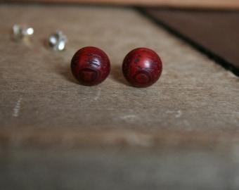 1 pair Padauk wood wooden earrings 8 mm plug/nut 925 Silver