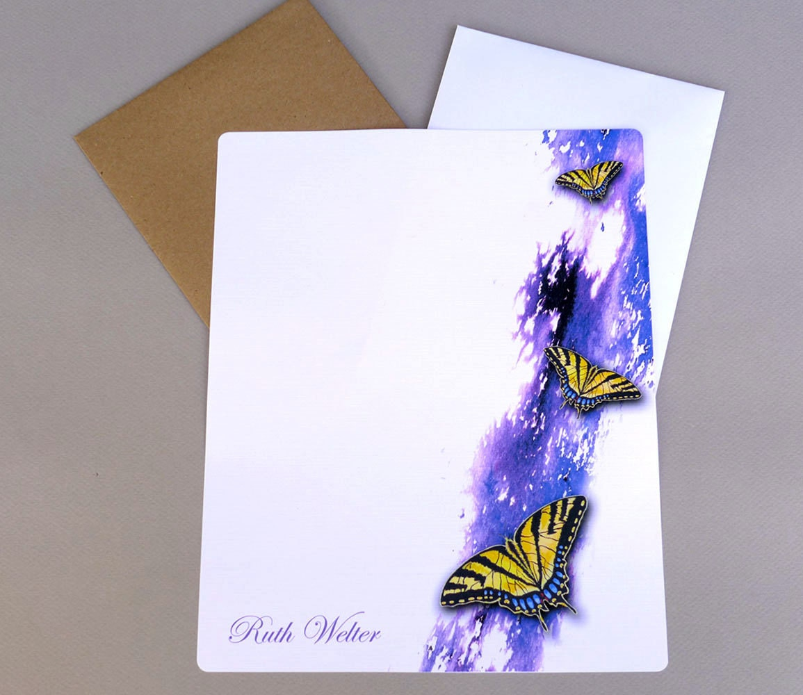 personalized writing paper stationery I love the birds in my garden, i'm always watching and painting them this personalized stationery set shows a little chickadee perched on a beautiful purple iris in bloom.