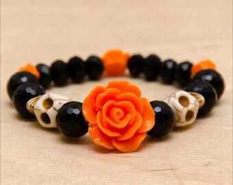 Skull Roses Bracelet - Day Of The Dead Jewelry - Sugar Skull Bracelet - Black Orange Bracelet - Rockabilly Bracelet - Halloween Jewelry