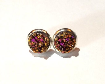 Magenta Gold Faux Druzy Earrings - 8mm Small