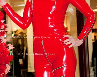 C + K leather top, PVC top, with standing collar, lots of metal zippers, very shiny, handmade, new