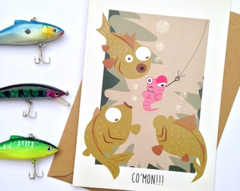 Birthday fishing card, fathers day , dad, son, grandad, uncle, A5 funny fish fight illustration