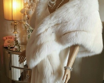 Luxury Vintage White Fur Stole - Fox Stole - Genuine Arctic Fox Fur Cape - Bride- Wedding Shawl -White Fur Wrap Marilyn Monroe White Fur