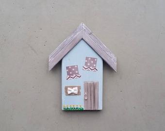 Put a Burlap Bow on It/Folk Art House/One-of-a-Kind/Reclaimed Art/Mixed Media on Wood/Housewarming Gift/Home Decor