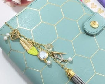 Neon green, grey, and gold planner charm