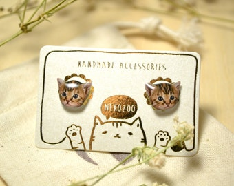 Tabby cat surgical steel earrings handmade Tiny Jewelry with linen cotton bag