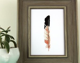 Water Color Art, Feather Print, Colorful Nature Decor Wall Art, Tribal Art, Southwest Decor, Watercolor painting, Native American Art, Coral