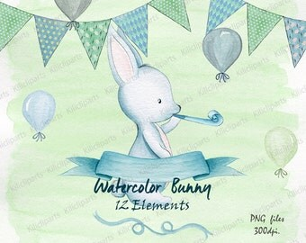 watercolor blue bunny, woodland blue rabbit, baby shower invite, birthday invitation, baby shower clipart, watercolor Papers.