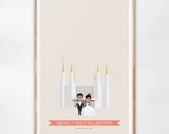 Washington D.C. Temple Wedding Guest Book Alternative, Custom Temple Wedding Sign, LDS Guest Book, Gift for the Couple, Guestbook Ideas