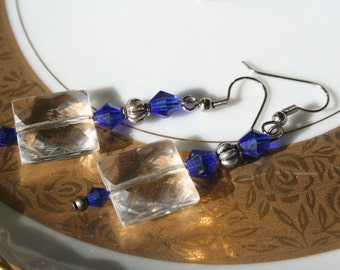 Blue and crystal dangle earrings