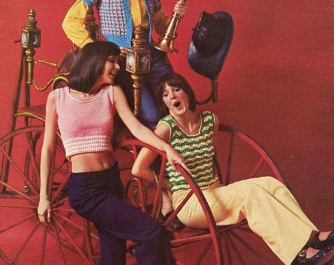 FREE US SHIP Retro Vintage 1970s 70s Spinnerin Knit Crochet Leaflet 340 Hook & Needle Vest Middy Blouse Mod Look Minibook