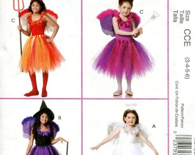 FREE US SHIP Sewing Pattern  McCall's 6186 Girls Tutu Dress Dance Halloween Costume Devil Angel Witch Size 3-6 7-14 Toddler Uncut New