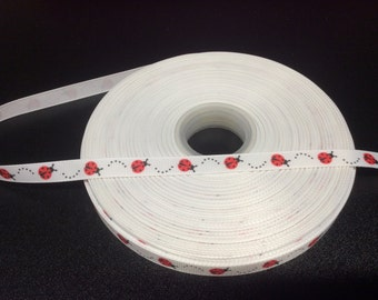 "Ladybug Grosgrain Ribbon - 3/8"",  Lady Bug Ribbon, Insect Ribbons"