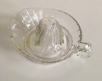 Vintage pressed glass citrus juicer, hand Juicer, vintage reamer