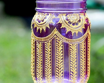 PURPLE Mason Jar Adorned with Trendy Henna Designs Moroccan Bohemian Themed Lanterns Wedding Party Holiday Events Decor