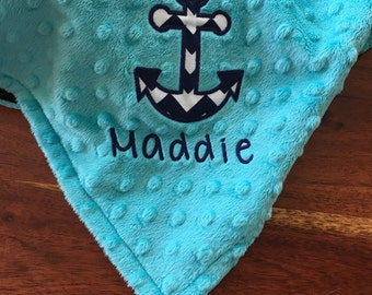 Anchor Lovey, Nautical Lovey, Turquoise Anchor Minky Lovey, Nautical Theme, Nautical Baby Shower, Personalized Lovey