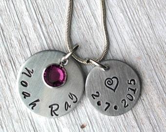 Personalized Mom Necklace/ Swarovski Crystal/ Mom Gift / Grandma Gift/ Hand Stamped/ New Mom Gift