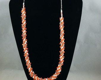 Collier Kumihimo perles de rocailles : Jour d'été Orange