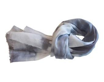 Shibori Linen Scarf, Blue-Grey / Women's Linen Scarf / Shibori Scarf / Hand-Dyed Scarf / Serenity Blue Scarf / Spring Scarf / Scarf
