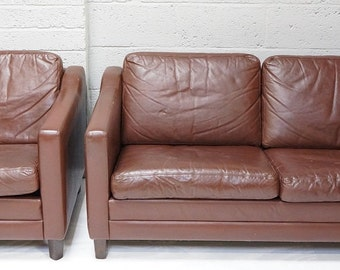 Vintage Danish Leather Sofa and Arm Chair
